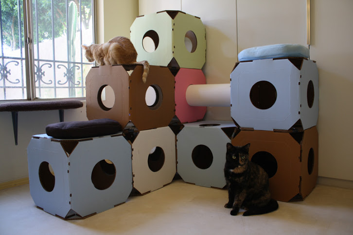 Stacking up catty stacks eco friendly cat furniture that for Diy cat tower cardboard