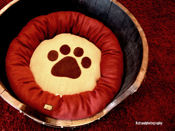 recycled wine barrel cat bed