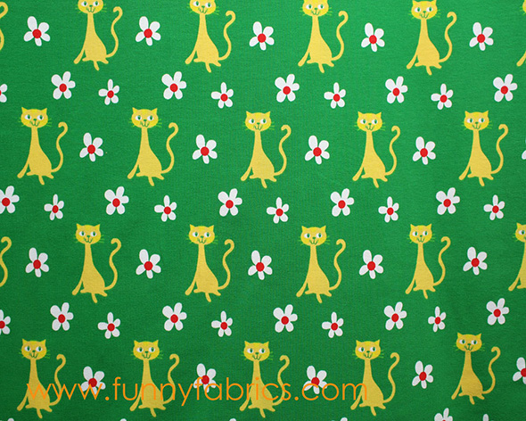 organic cat print sateen cotton