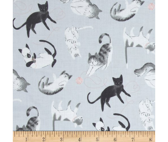 grey cloth with cats for crafts organic cotton