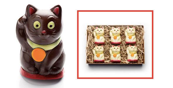 organic chocolate cats, chocolate fortune cat, organic cat-shaped chocolates, cat chocolates, chocolate cats